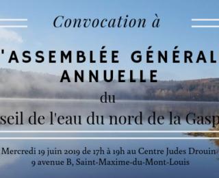 Assemblée générale annuelle du Conseil de l'eau du nord de la Gaspésie